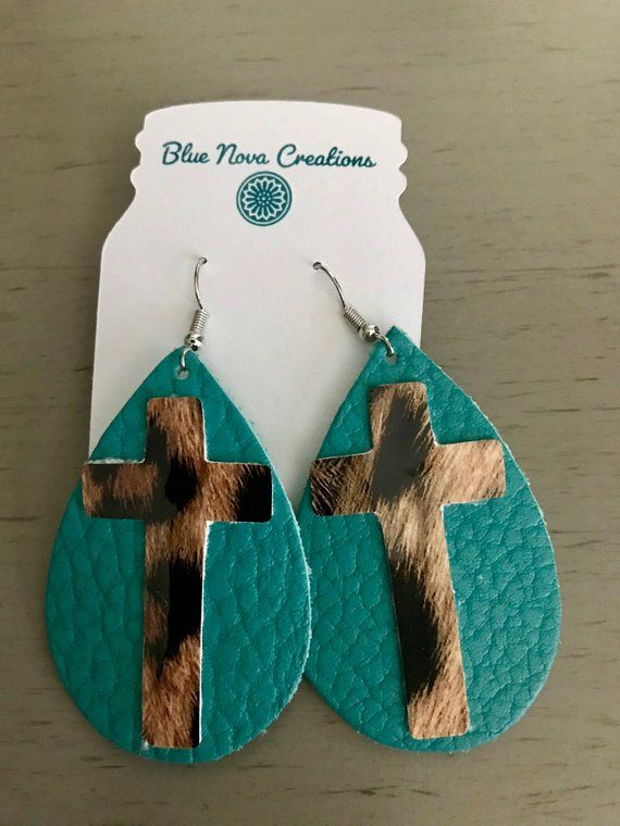 Photo of Items similar to Leather Earrings/Teardrop Earrings/Western Earrings/Cross Earrings/Camo Earrings/Rodeo Earrings/Cactus Earrings/Leopard Earrings on Etsy