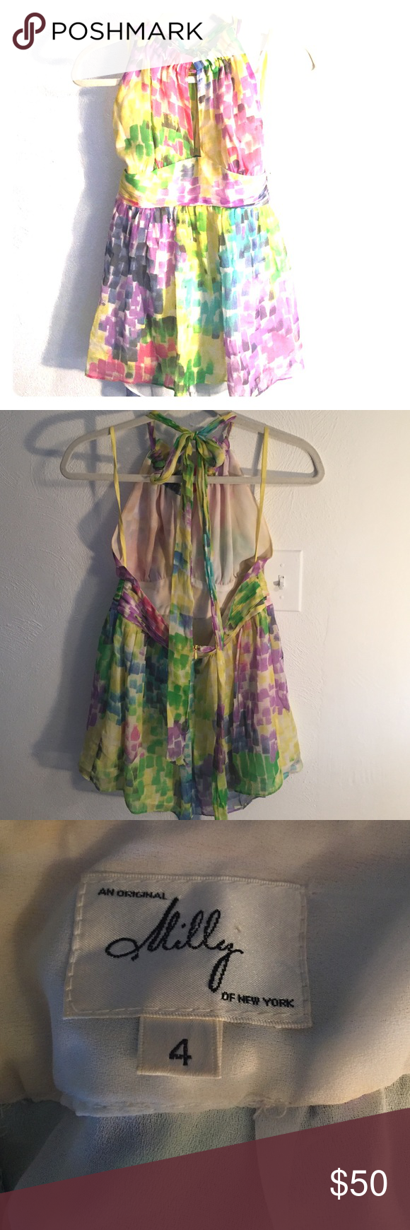 Milly top Bright silk tank with halter neckline and low back. Great condition. Milly Tops