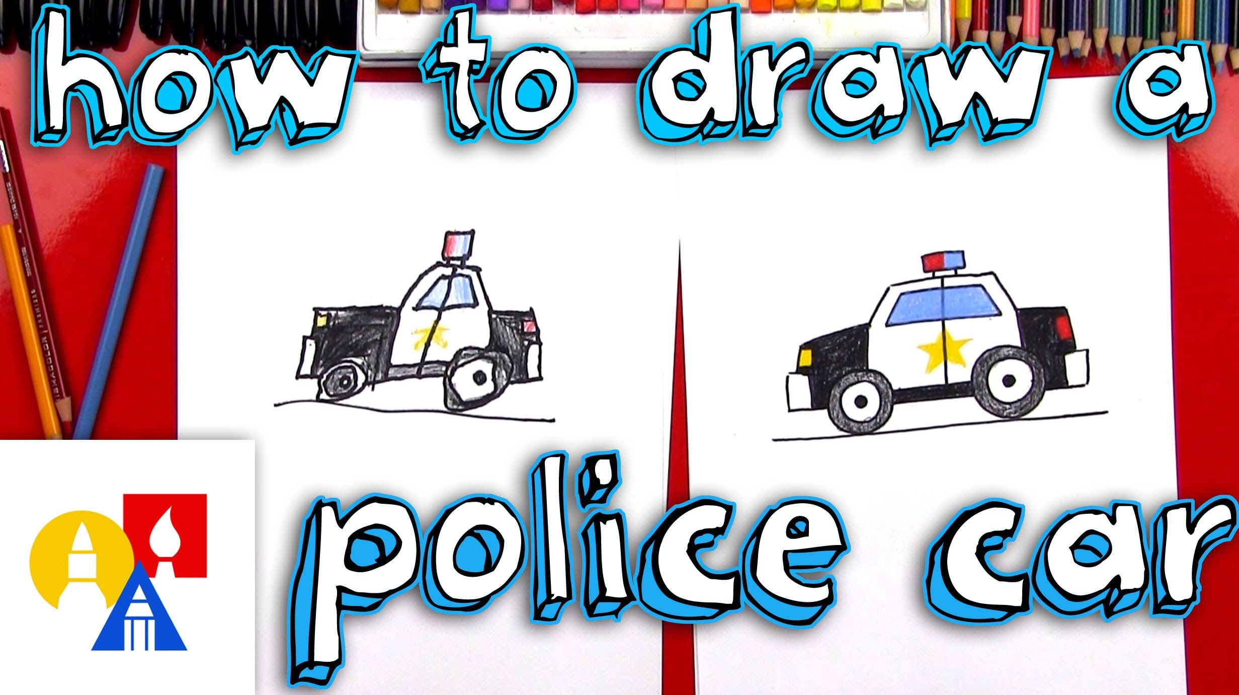 How To Draw A Cartoon Police Car With Images Art For Kids Hub