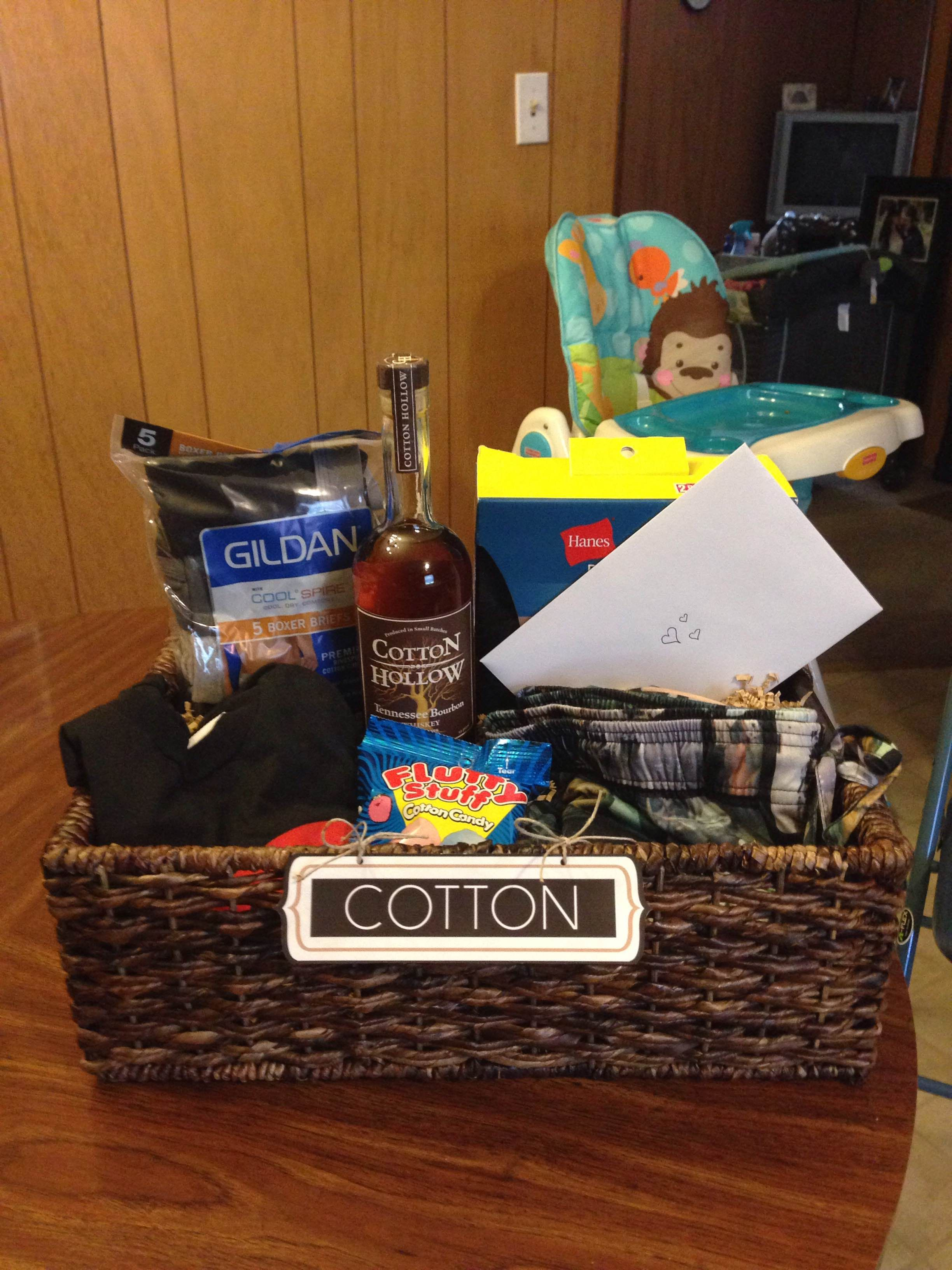 Cotton Gift Basket I Put Together For My Husband Our Second Wedding Anniversary Gifts Hanes X Temp Crew Shirts Cool Spire Boxer