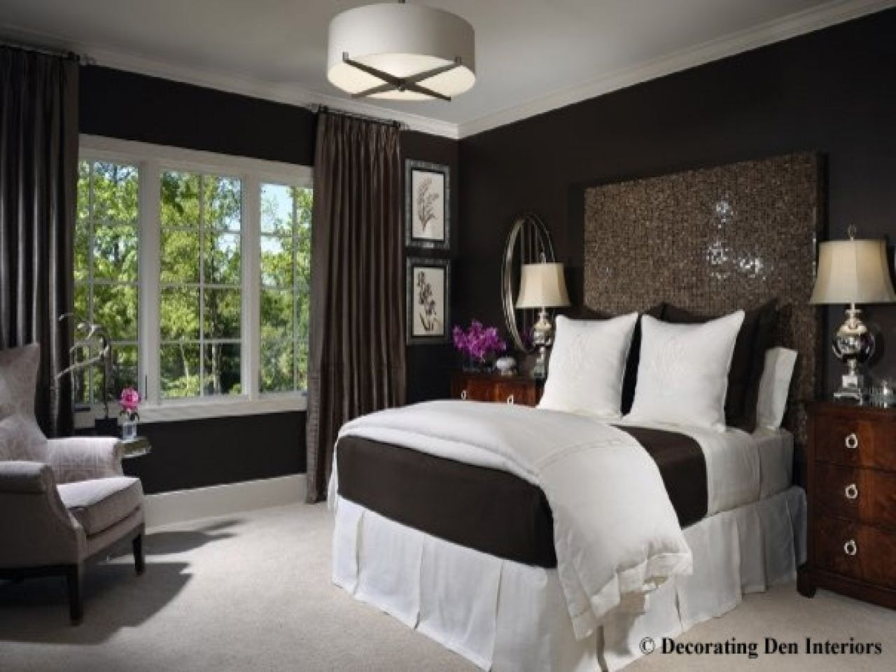 Bedrooms chocolate brown curtains walls black pictures bedroom ideas