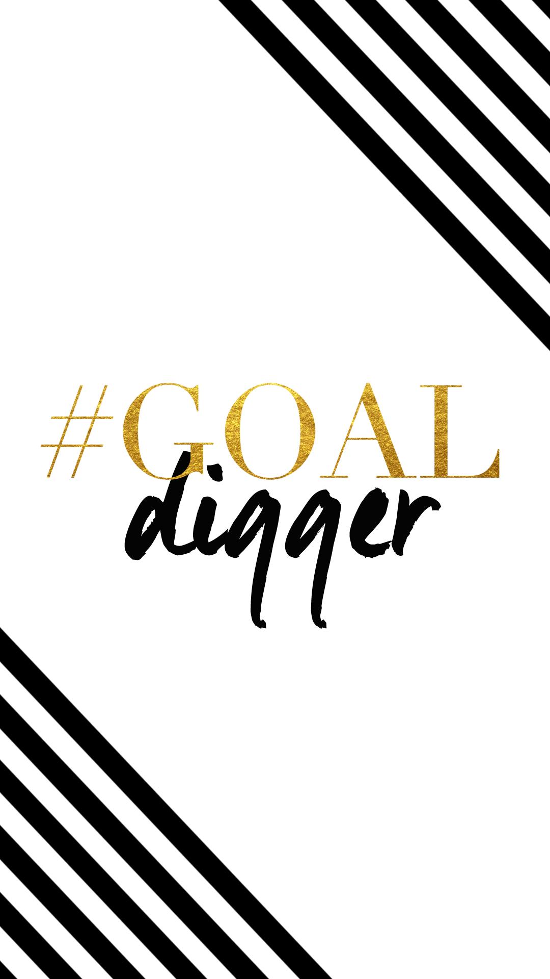 Black White Gold Stripes Goal Digger Iphone Phone