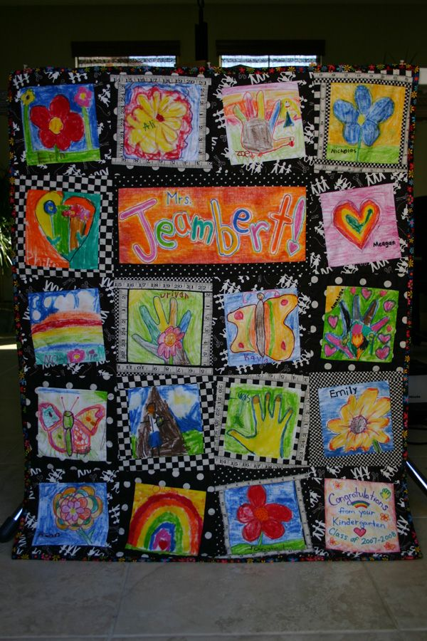 Tutorial: Kids' Artwork Quilt with Fabric Bias Tape ...Quilt Drawing