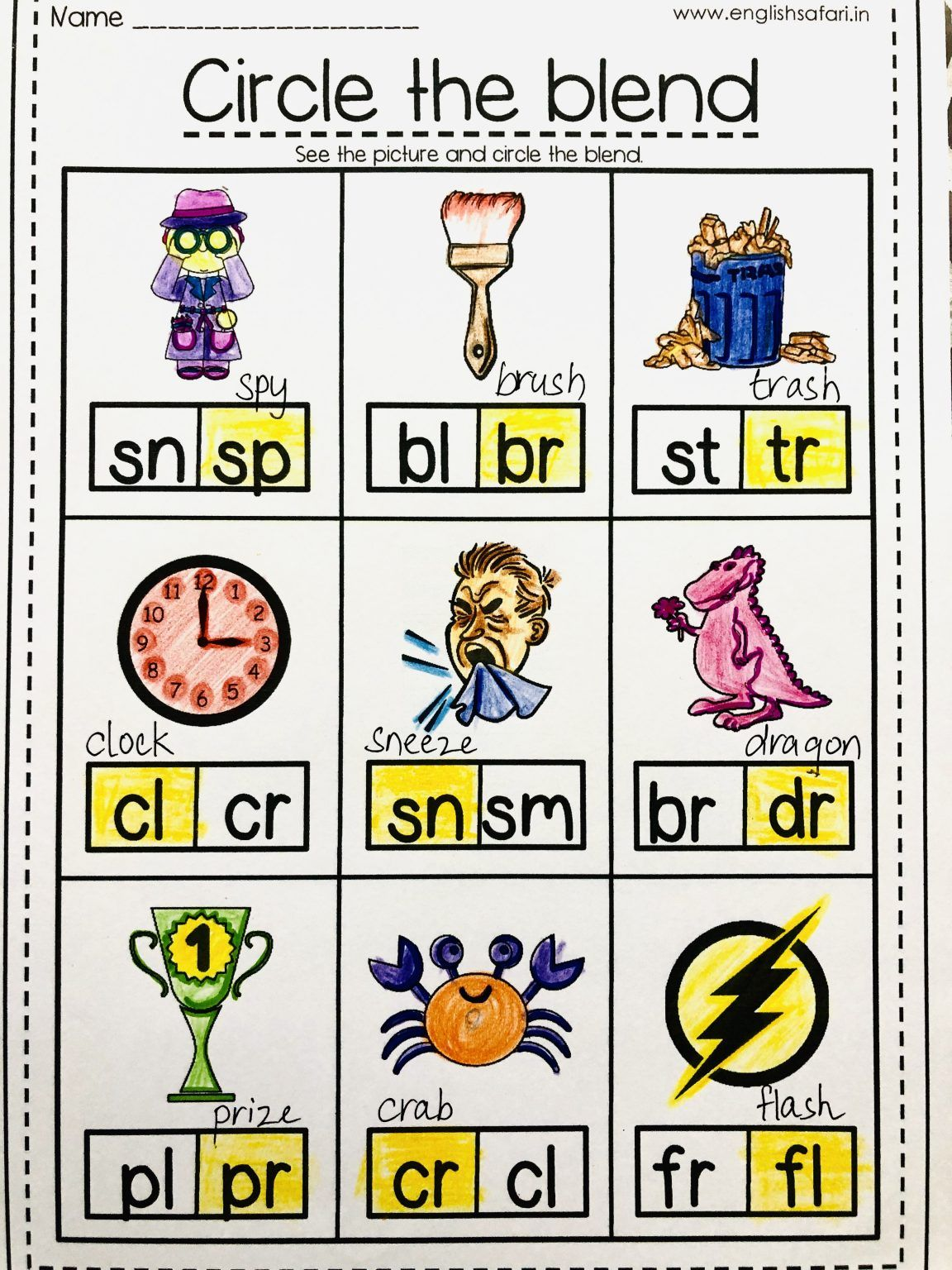 Consonant Blend Words Worksheets Free Englishsafari