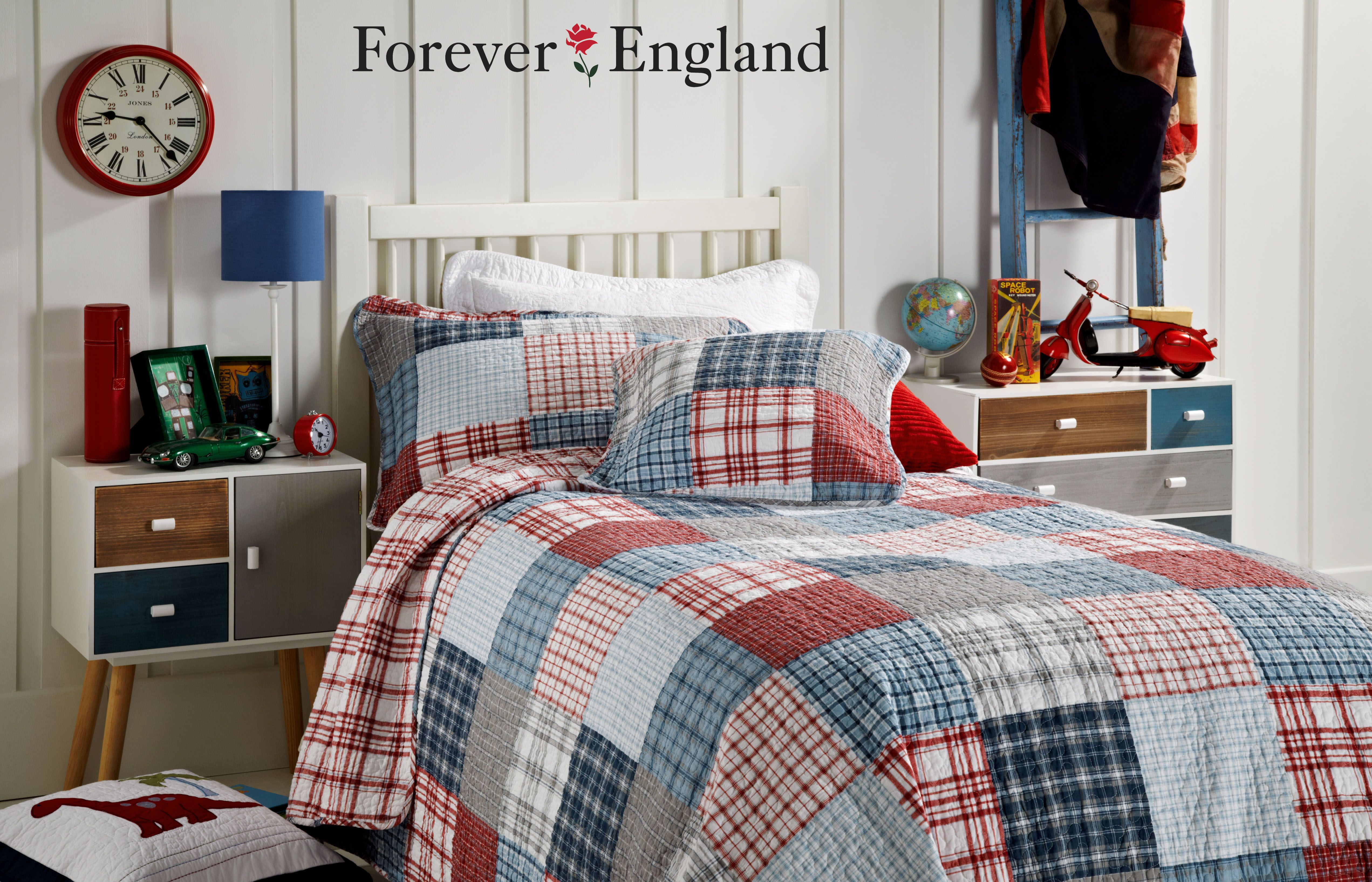 Our New Henry Quilt Is A Mixture Of Strong Denim Blue Colours Mixed With Reds And Greys It Is Suitable For A Boy S B Plaid Quilt Quilt Sets Colorful Kids Room