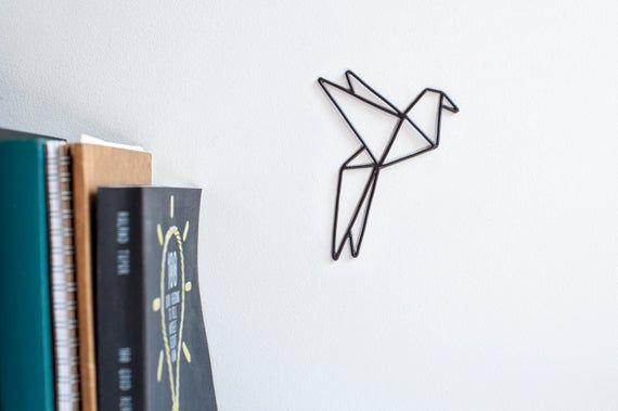 Photo of Handmade origami bird – black wire sculpture. Metal sculpture. Minimalist art. Scandi, modern wall decor. Personalized gift. Trendy decor