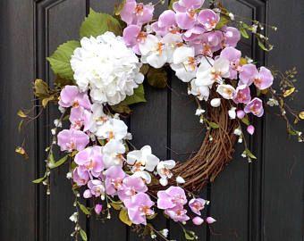 Spring Wreath Summer Wreath Floral White Branches Door Wreath