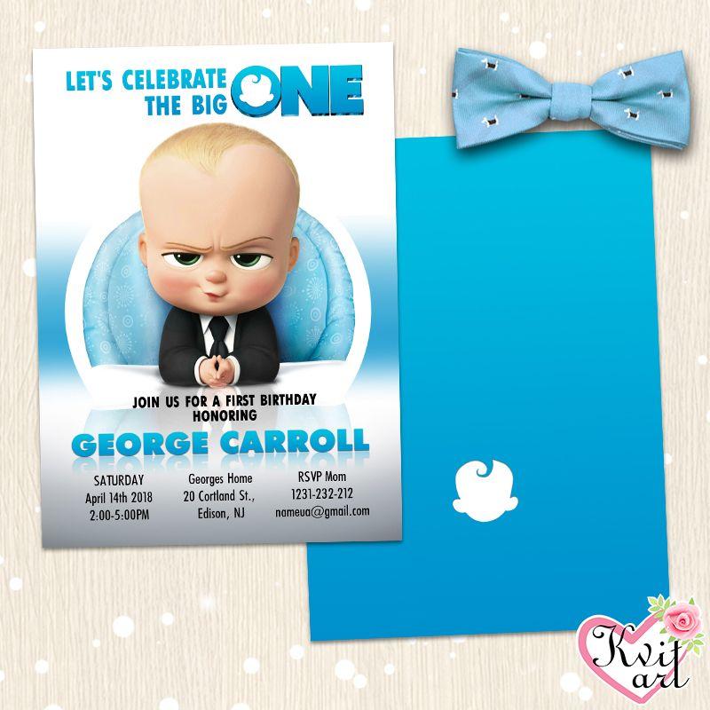 Baby Boss Birthday Invitation Any Age Boy Card 1 2 3 Year