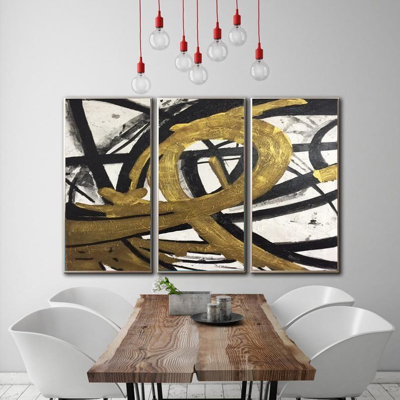 Zeitgenössische Kunst Kunst Abstrakte Wohnzimmer Wand Art Set | Etsy