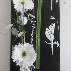 N° 240, Tableau Floral, 3d 30x60, Fleurs Artificielles, Tableau, Décoration  Murale, Gerbera, Art Floral, Composition Florale