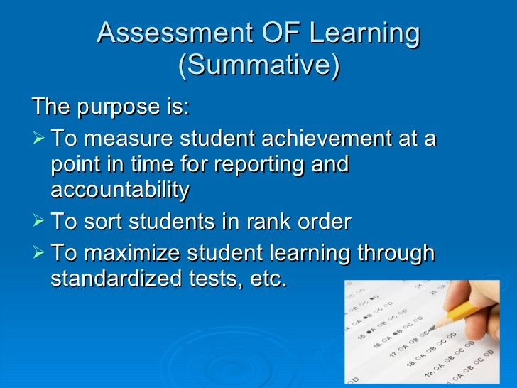 Assessment Of Learning Summative UlLiThe Purpose Is LiUl