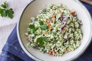 Raw cauliflower tabouli is a zesty gluten free and vegan side dish. Get the recipe.