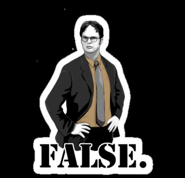 'FALSE.' Sticker by Selador Office wallpaper, Office