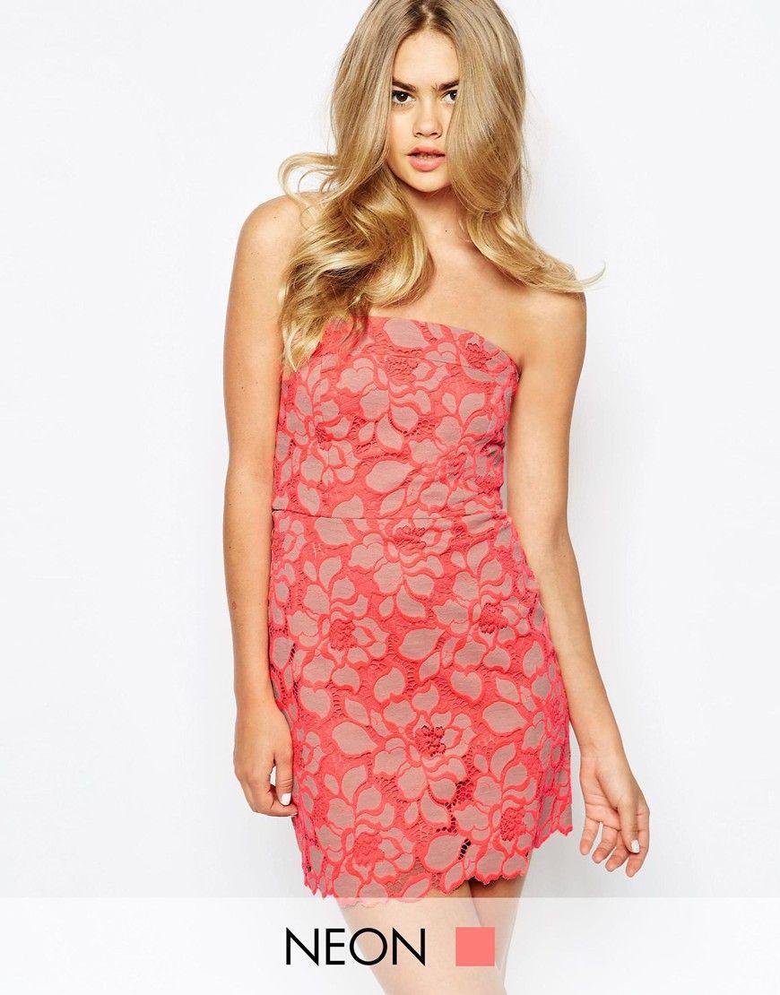 River Island Bandeau Floral Lace Dress