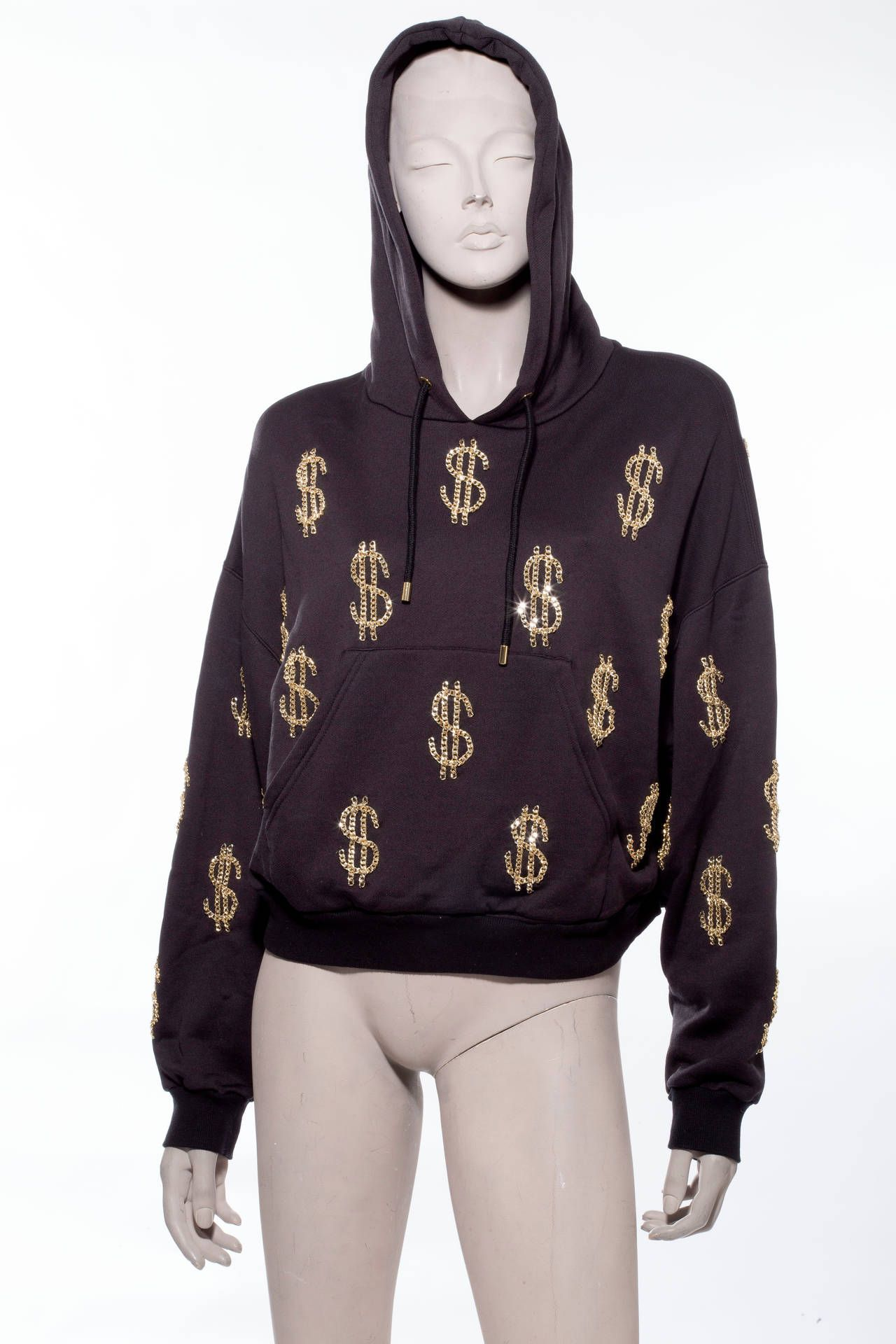 61eaa170d8a Moschino Couture Hoodie With ChainLink Dollar Sign Appliques in