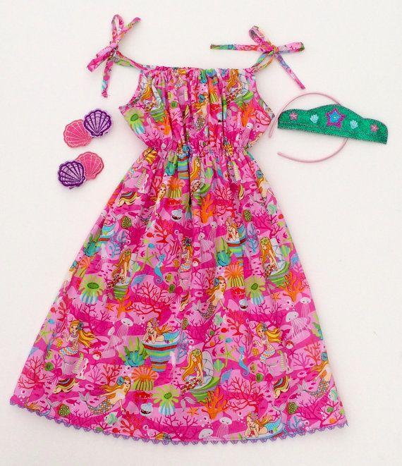 Mermaid sundress pink sundress cotton sundress by ShopIsAPrincess