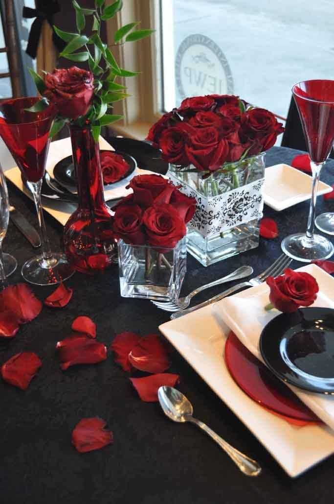 Inspiration Reception Flowers Decor White Red Black