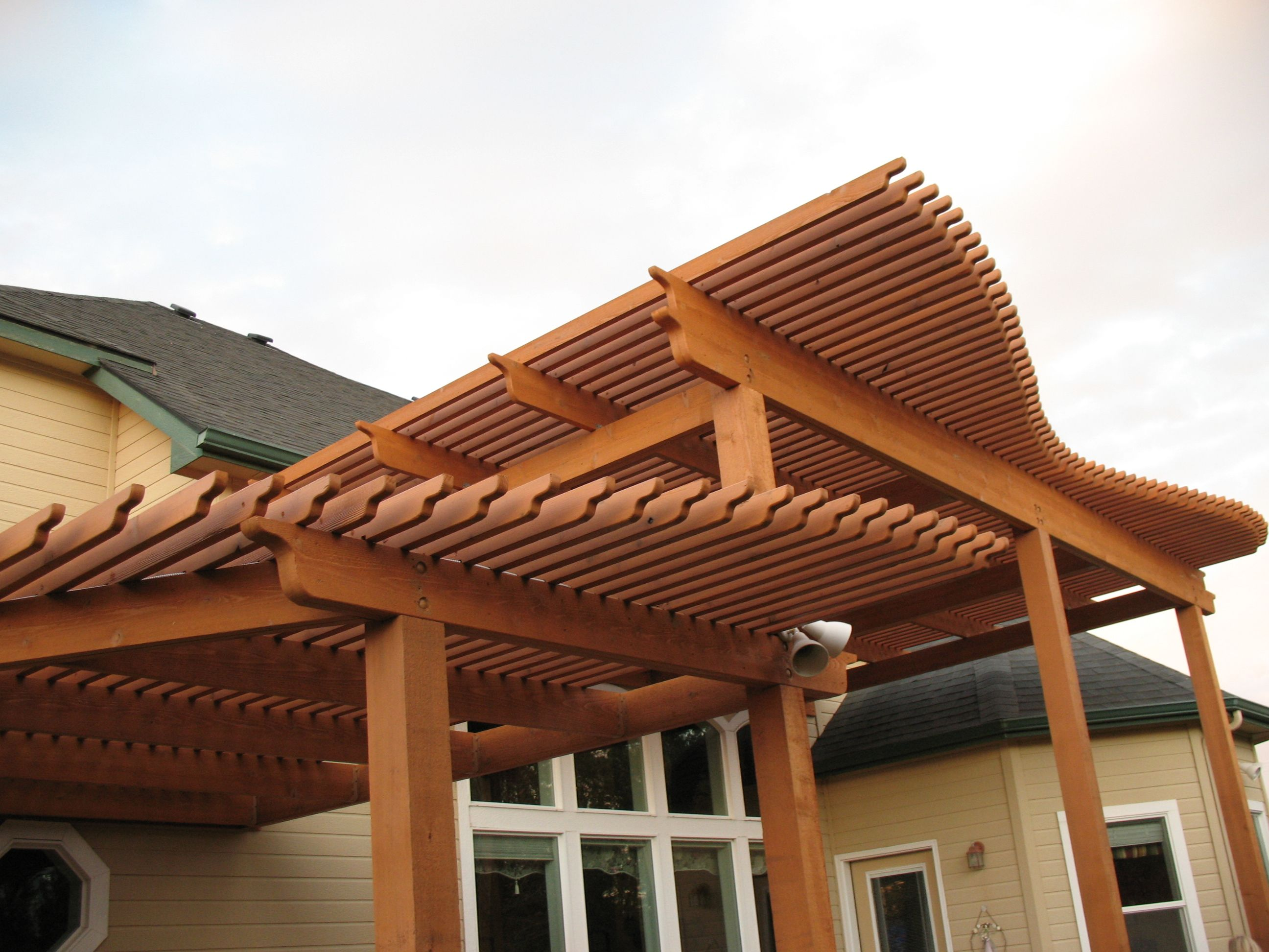 Sketch of Wooden Patio Covers Design Exteriors