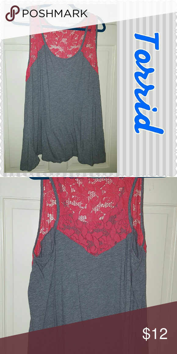 Stunning Torrid size 4 tank This grey tank is cotton knit with coral lace on the top half and the back half. Torrid Tops Tank Tops