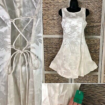 nos vtg 90s dby ivory floral satin prom party dress