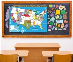 This US Map educational PEEL, PLAY LEARN set works for young and older children. Whether you are homeschooling or looking for something to challenge kids in the classroom, our interactive wall play sets will fit in perfectly. Because these sets are not vinyl or coated stickers, they will not rip or tear and can be cleaned and reused for years. The bright and colorful, fun graphics make them perfect for visual learners. Kinesthetic learners will love touching and moving pieces around.
