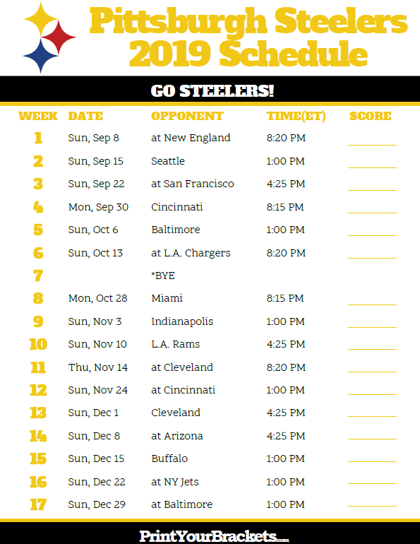 photo regarding Printable Nfl Schedules identified as Printable Pittsburgh Steelers Agenda - 2019 Time