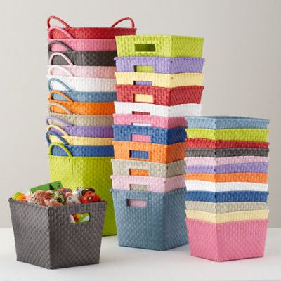 Kids Storage Containers: Kids Colorful Woven Storage Collection   Blue  Shelf Basket By The Land Of Nod $9