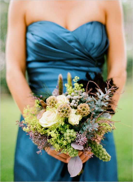 Teal Bridesmaid Dress Looks Good With This Bouquet Peacock