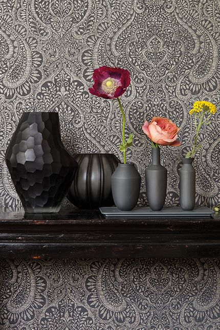 rasch-textil jaipur grau-braun silber ornament-muster vliestapete ... - Schlafzimmer Silber Braun