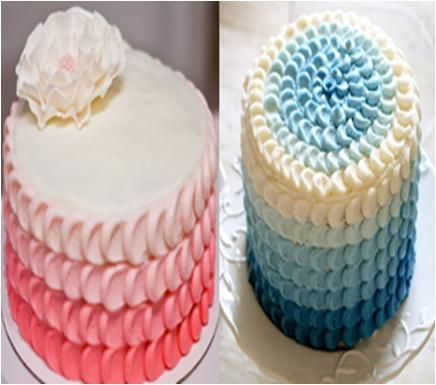 Ombre Petal Cake Recipe Print Decorating a simple frosted ...