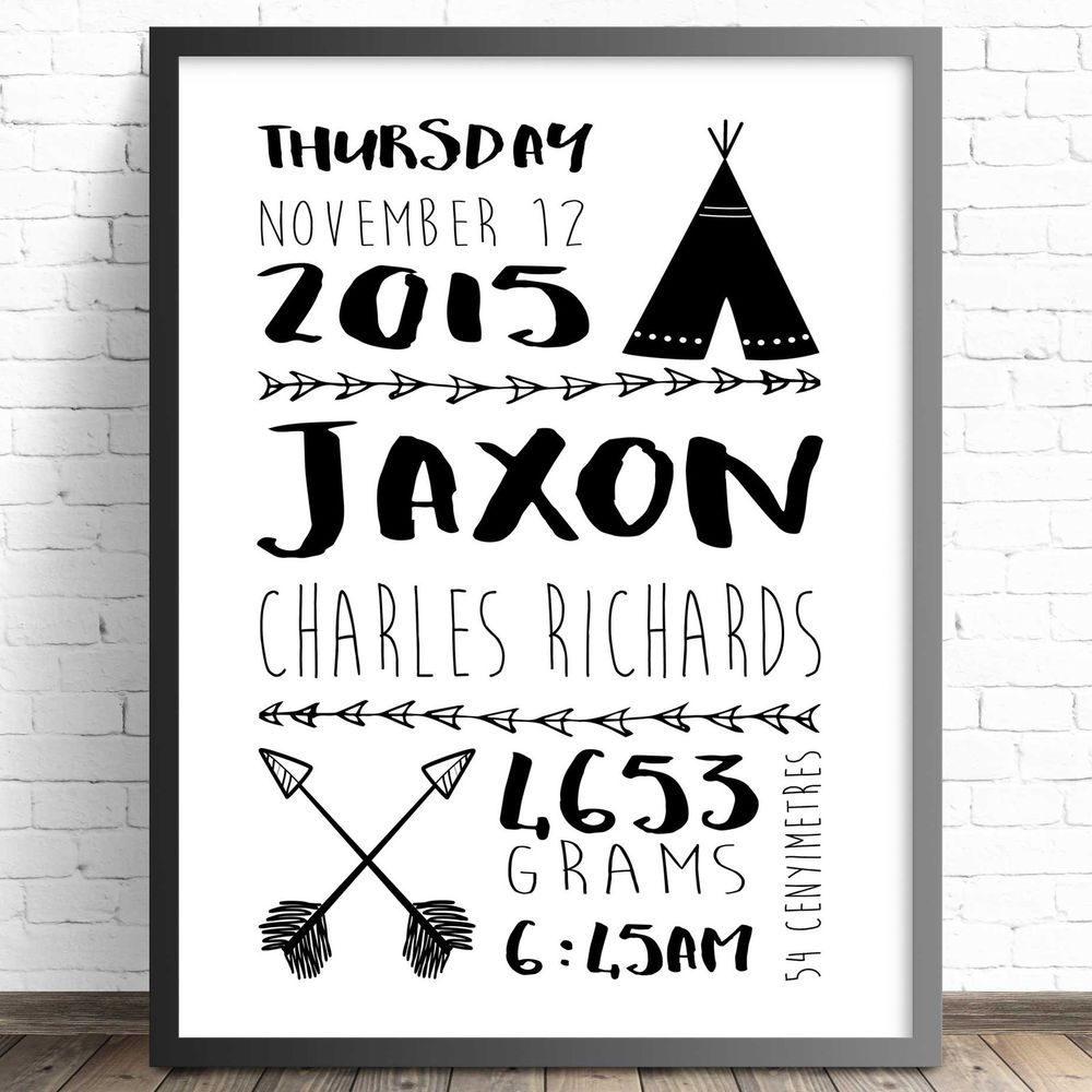 A4 Personalised Birth Announcement Nursery Print Bedroom Wall – Personalised Birth Announcements