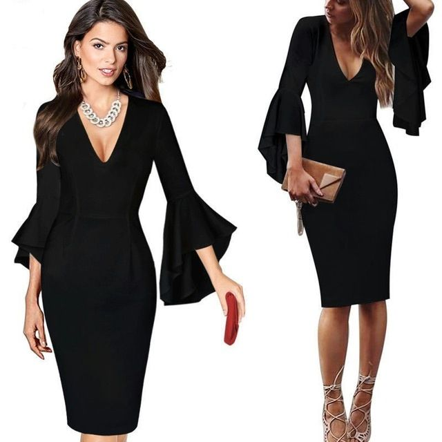Sexy V Neck Cocktail Dresses 2018 Short Party Gowns Long Sleeves  Knee-Length Robe Cocktail Courte Casual Ruffles Bodycon Dress   cocktaildresses  princess ... 7940318682a2