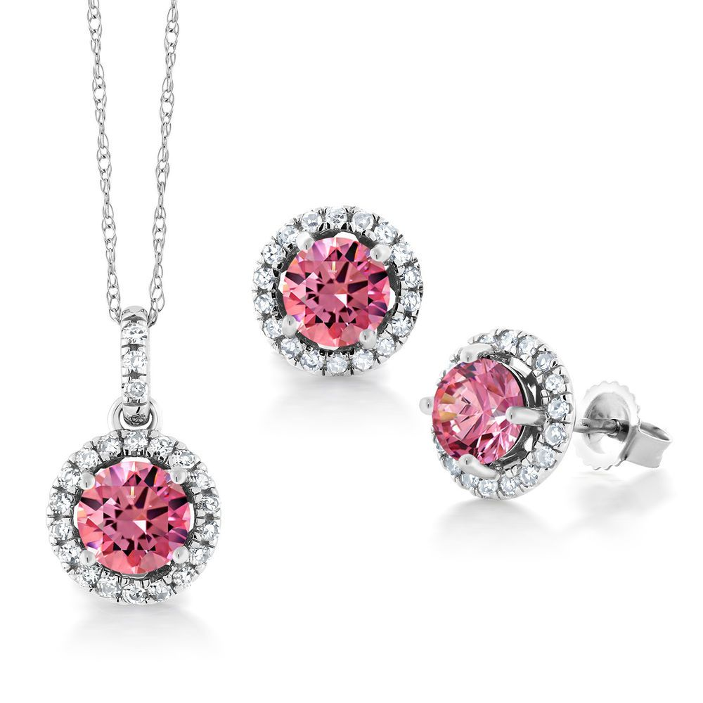 K white gold pendant earrings diamond set u set with zirconia from
