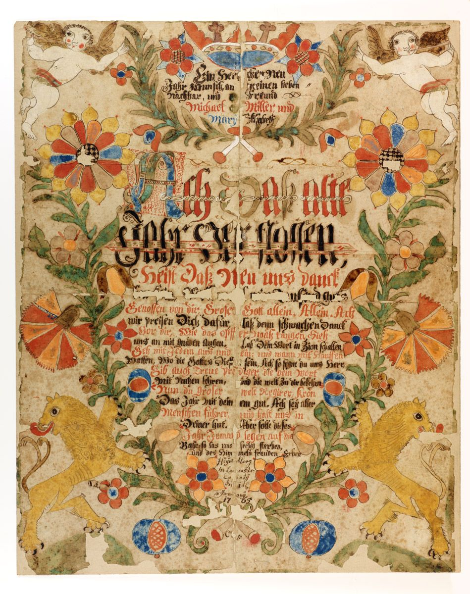 New Year's Wish for Michael & Mary Elisabeth Miller.  Dated Jan. 1, 1765.  Hand drawn and colored, hand lettered.