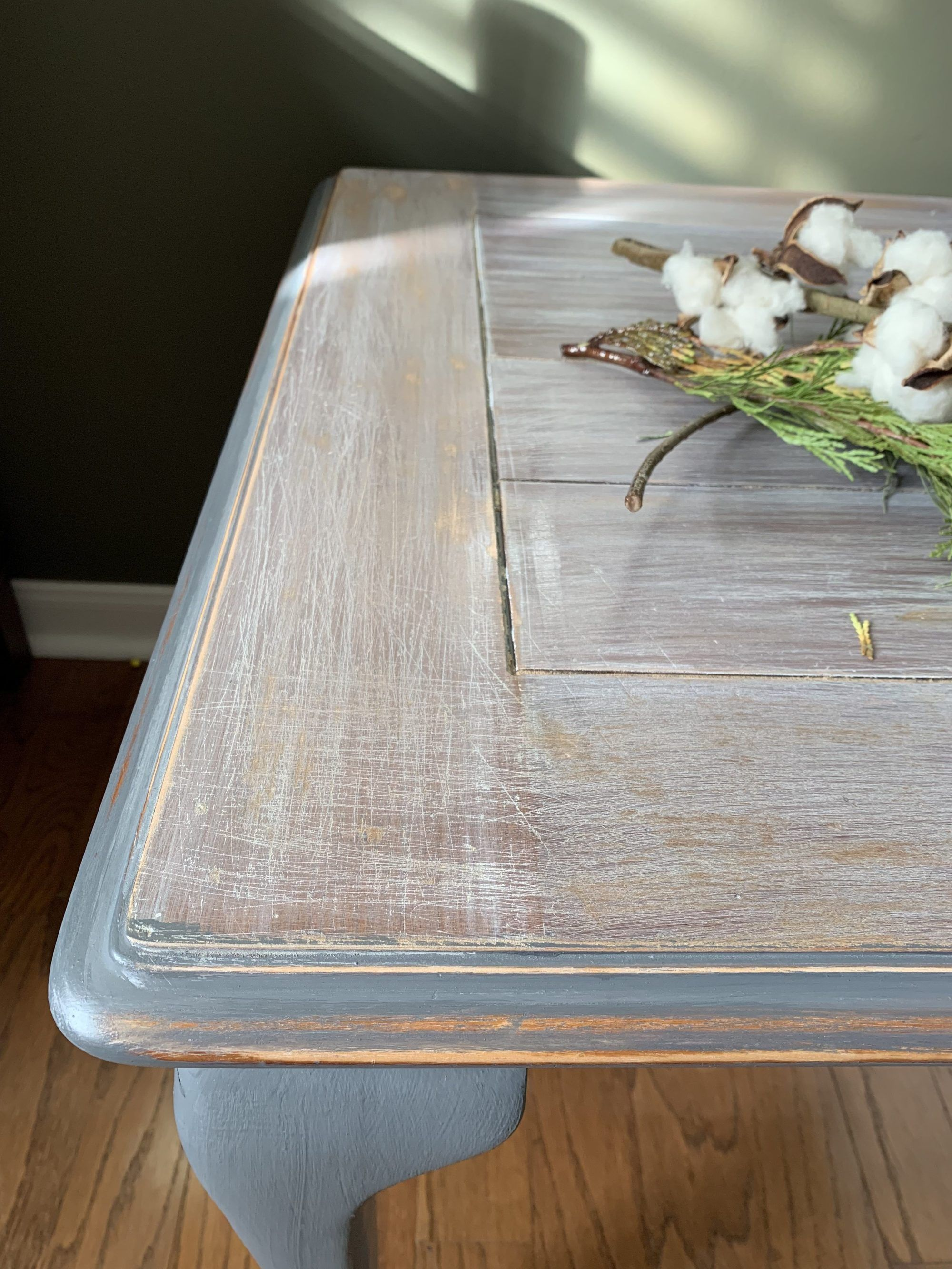 How To Antique White Stain A Table Let S Paint Furniture