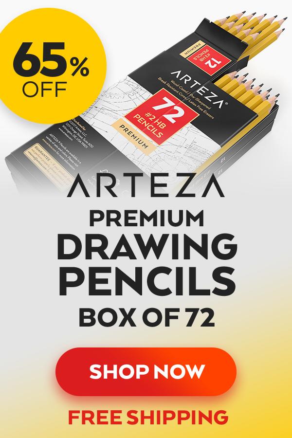 Latex Free Erasers Box of 72 Pre-Sharpened ARTEZA #2 HB Wood-Cased Pencils