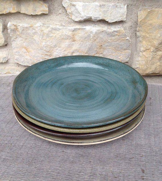 Taupe Farbe Dekorative Ideen Für Ihr Zuhause: Handgemachte Keramik Teller... Set Von Vier Mix & Match In