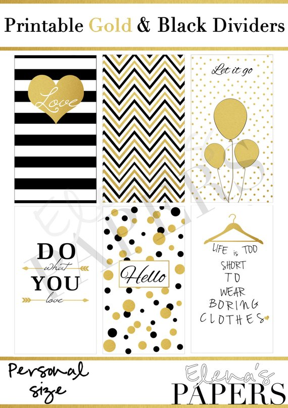 Printable Personal dividers GOLD  BLACK style_golden and black PDF