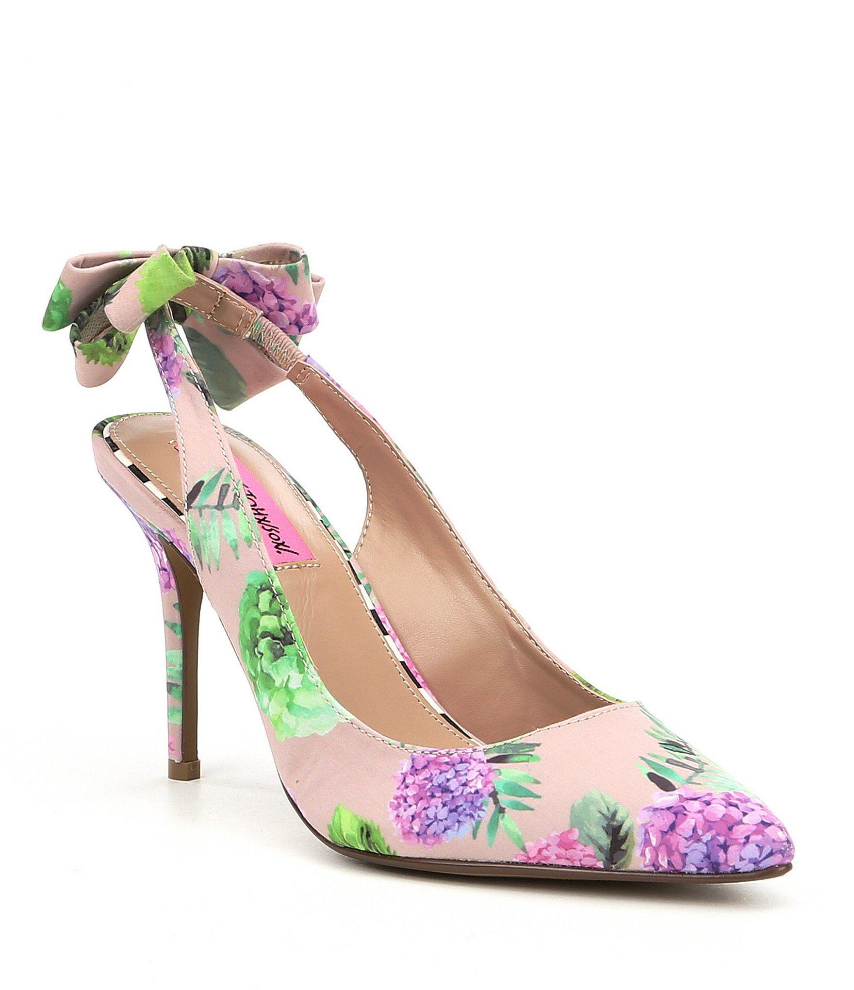 Betsey johnson ginjer satin floral bow sling back pumps