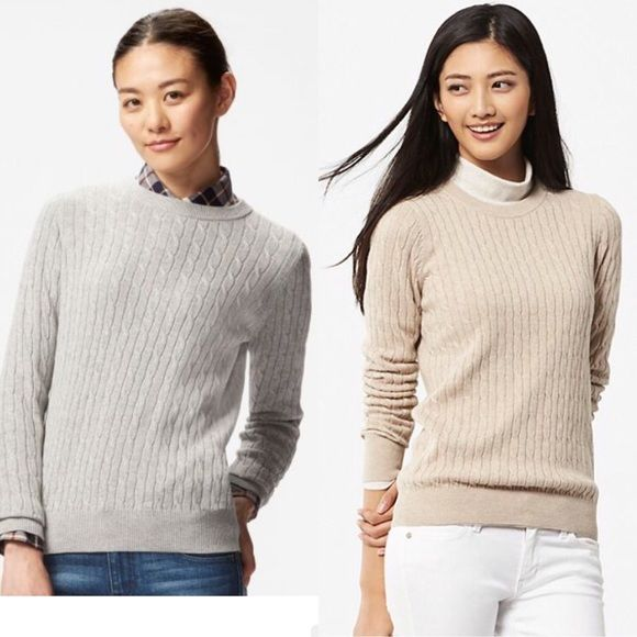 Uniqlo Cotton Cashmere Cableknit Sweater Gray sm | Uniqlo, Cable ...