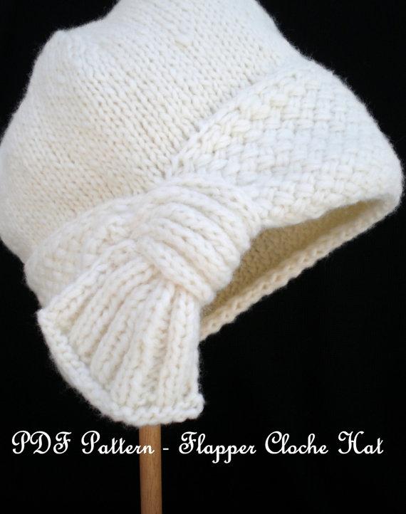 Las mujeres patrón PDF de punto sombrero Cloche - sombrero Cloche de aleta
