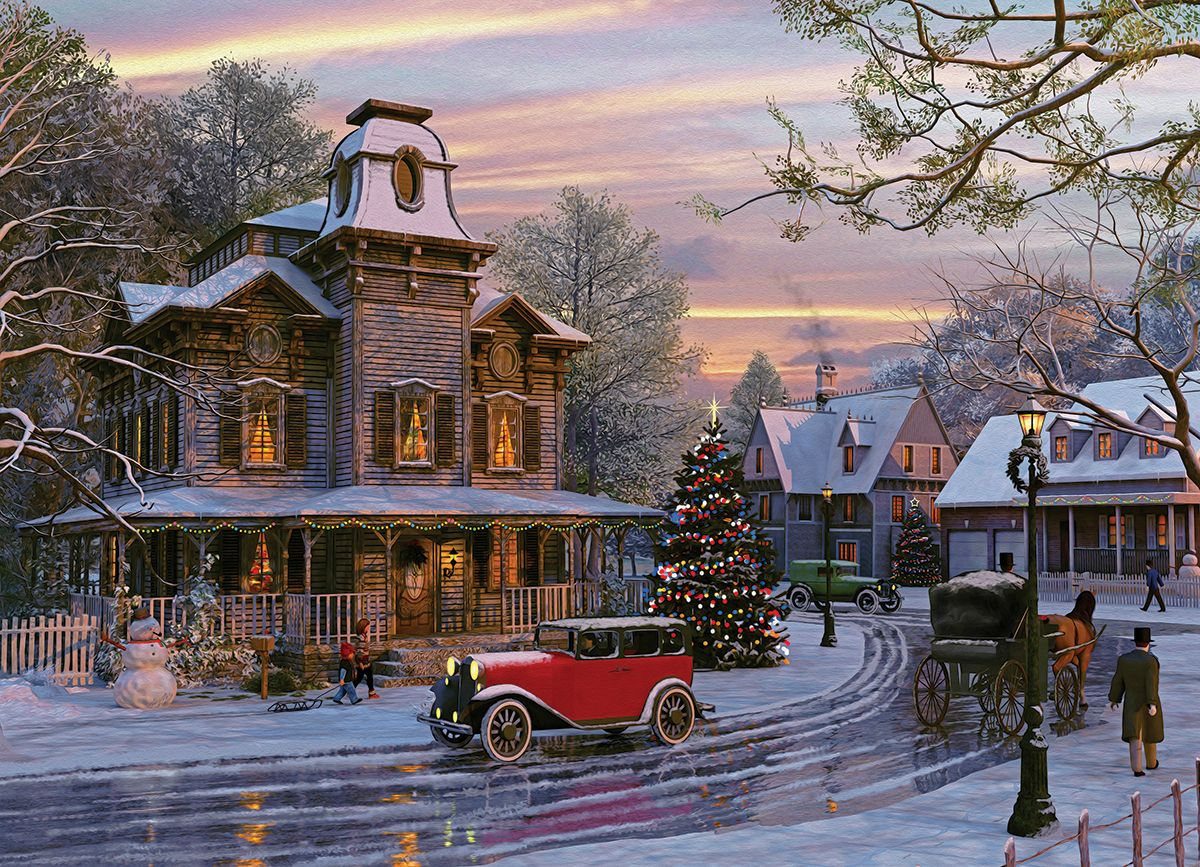 Christmas house with snow art - Driving Home For Christmas By Dominic Davison 1000 Pieces This Beautiful Painting Begins The Anticipation