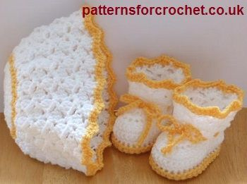 Hat and booties free crochet pattern from http://www.patternsforcrochet.co.uk/hat-boots-usa.html #freecrochetpatterns #patternsforcrochet