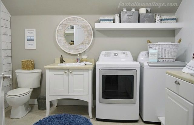 laundry room makeovers charming small. Combination Bathroom And Laundry Room In Nautical Style Makeovers Charming Small