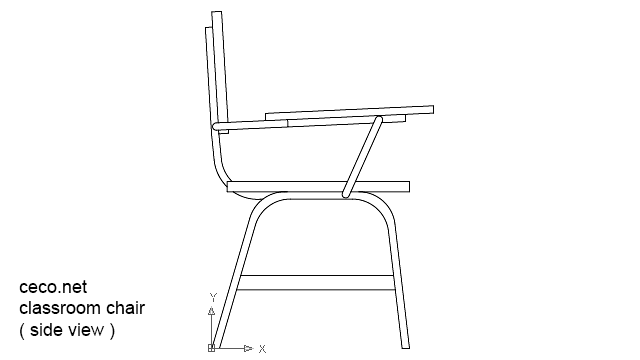 Classroom Chair In Side View In Furniture Ceco Net Free Autocad Drawings