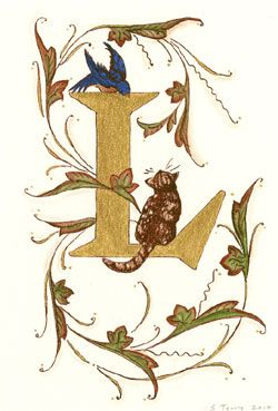 Illuminated Letter L with cat and bird