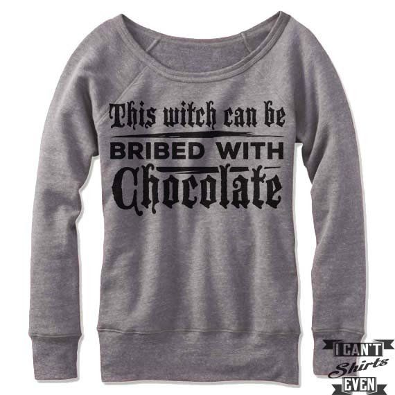 c89bbcb00196 This Witch Can Be Bribed With Chocolate Off Shoulder Sweater.Funny Shirt.  Halloween Party Costume.