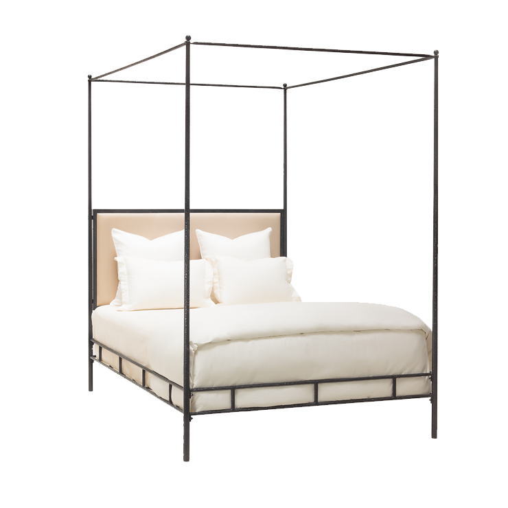 Marco Bed Cal King Hand Hammered Iron W Canopy Tapering Posts Upholstered Headboard 76 W X 87