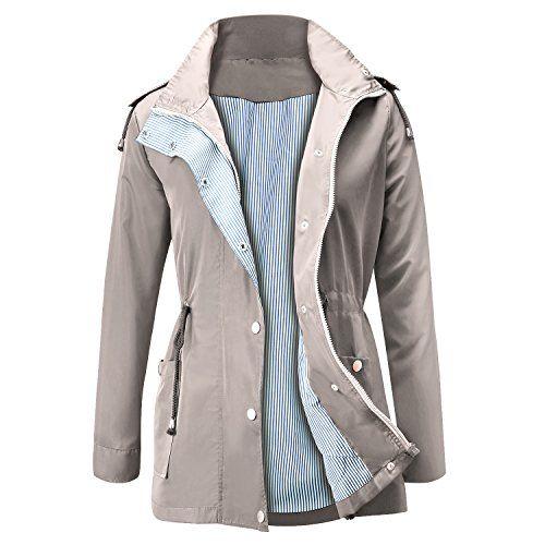 afb1466968747 FISOUL Raincoats Waterproof Lightweight Rain Jacket Active Outdoor Hooded  Women's Trench Coats
