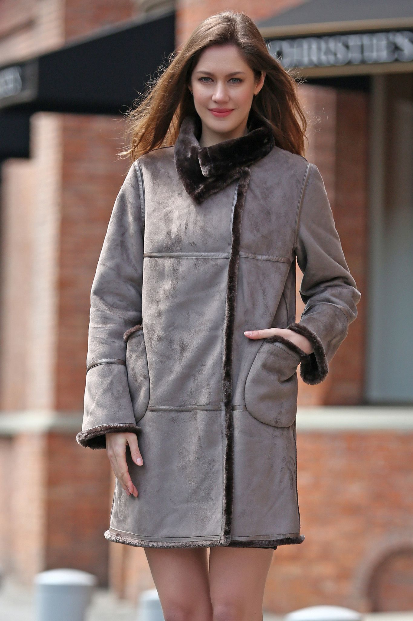 Grey Faux Suede Leather Pea Coat Lining With Lush Faux Fur